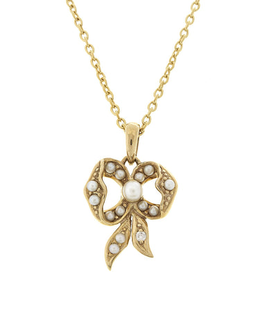 Seed Pearl Bow Petite Pendant