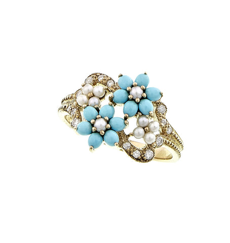 Small Flowers Ring with Diamond accents (Turquoise)