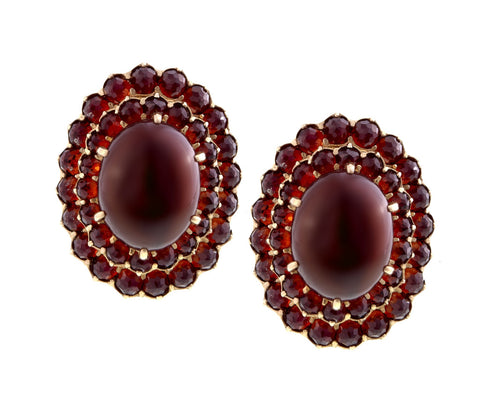 Victorian Style Large Cabochon Garnet  Stud Earrings