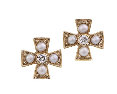 Petite maltese cross seed pearl stud Earrings (14 karat )
