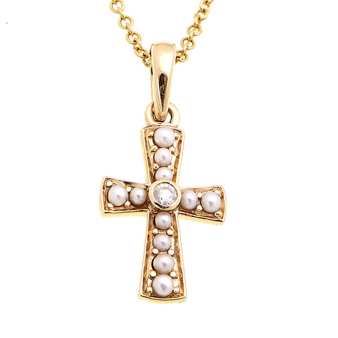 Petit Cross Pendant with Diamond (Seed Pearl)