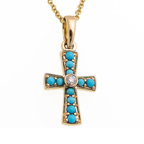 Petit Cross Pendant with Diamond (Turquoise)