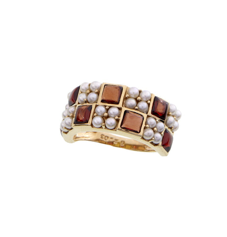 Checkerboard Band Ring (Garnet)