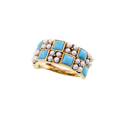 Checkerboard Band Ring (Turquoise)