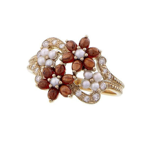 Small Flowers Ring with Diamond accents (Garnet)