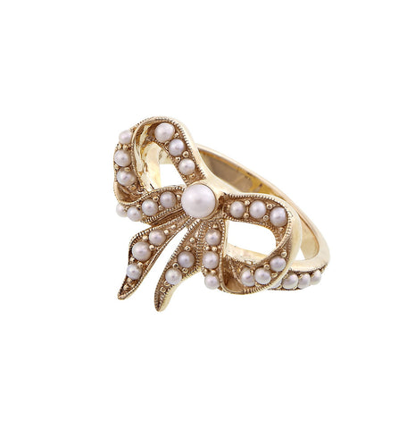 Seed Pearl Bow Ring