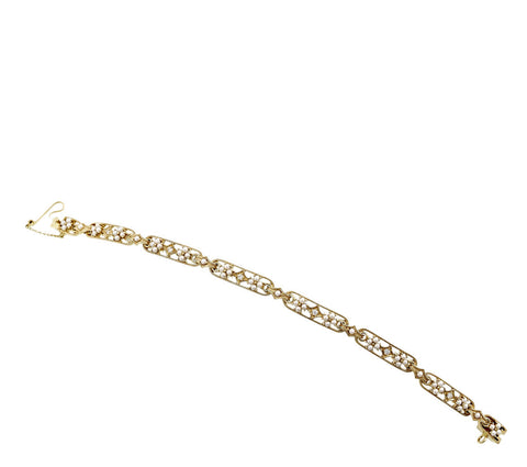 Seed pearl and Diamond Link Bracelet