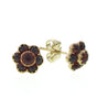 Victorian Antique Reproduction 18 karat yellow gold small flower stud earrings with garnet designed by R.Victorian New York, Victorian fashion & etc
