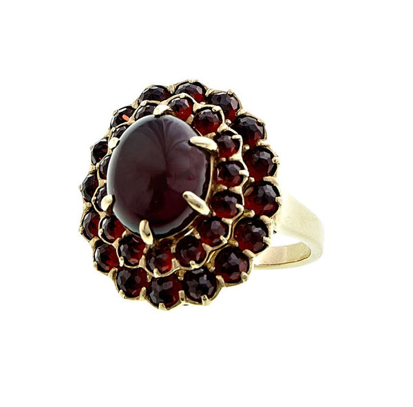 Victorian Style Large Cabochon Garnet  Ring
