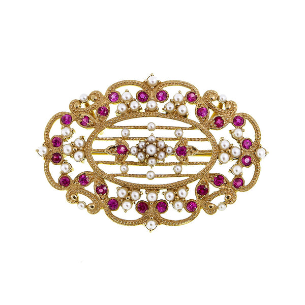 Filigree Harp Brooch Pin / Pendant with Semi Precious Stones