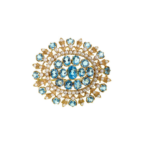 Oval Sunburst Pin / Pendant  (Swiss Blue Topaz)