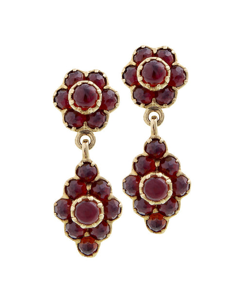 Garnet Dangling Floral Earrings