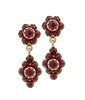 Garnet Dangling Floral Earrings - Victorian Antique Reproduction 18 karat yellow gold flower dangling earrings with cabochon and faceted garnet designed by R.Victorian New York, Victorian fashion & etc
