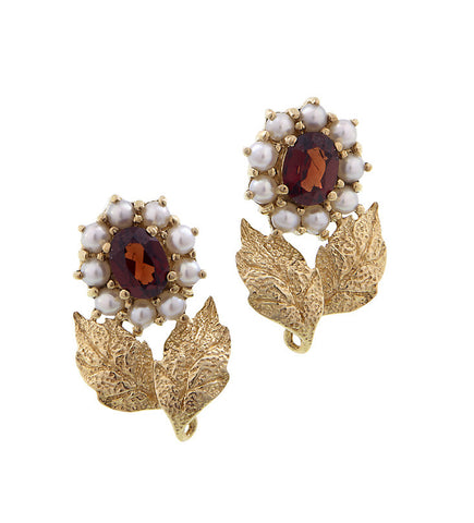 Petite Stud floral earrings wth semi precious stones (Garnet)