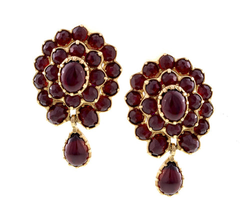 Victorian Style Medium size Garnet  Cluster Earrings