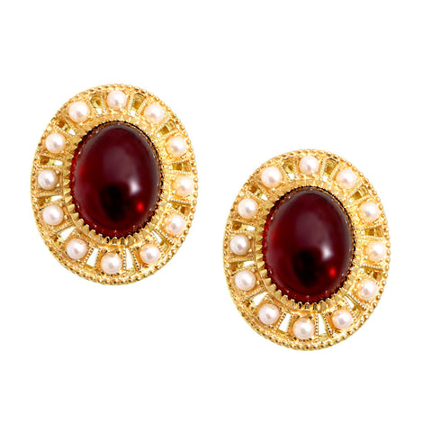 Garnet and Seed Pearl Oval Stud Earrings