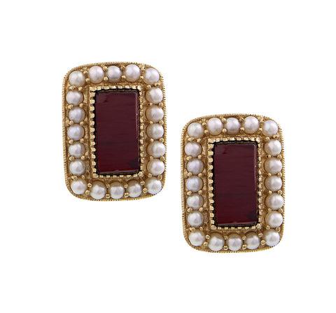 Garnet and Seed Pearl Rectangle stud Earrings