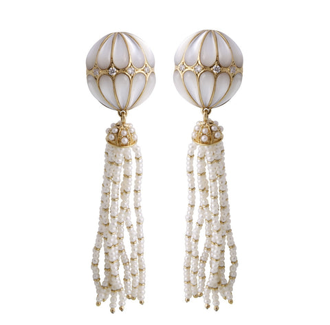 White Mother of Pearls and Seed Pearls Tassel Earrings