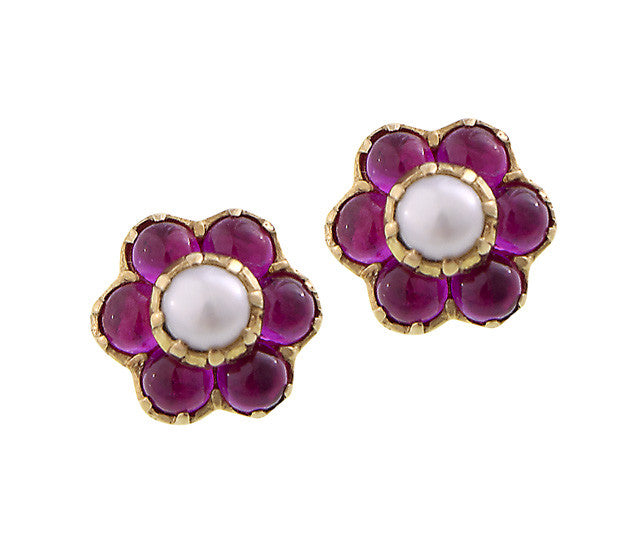 80f6e24d8 Pretty small flower stud Earrings ( Ruby ) - Victorian Antique Reproduction 18  karat yellow gold