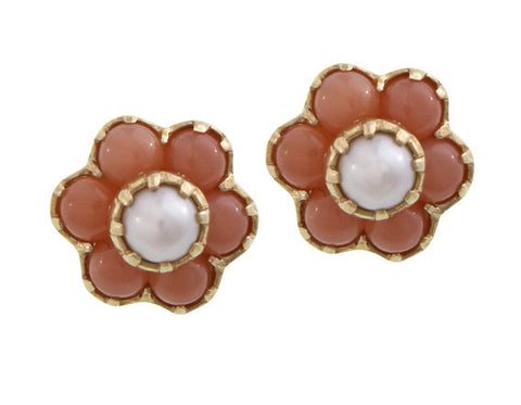 Pretty small flower stud Earrings ( Angel Skin Pink Coral & Pearl )