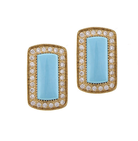 Diamond framed Rectangle Turquoise Stud Earrings