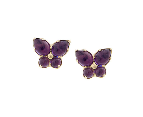 Mini Butterfly Amethyst Stud Earrings