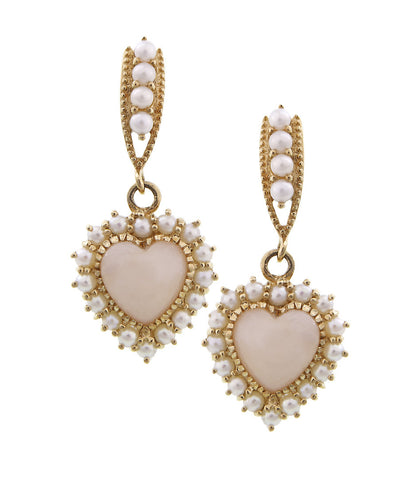 Be-my-Valentine Dangling Heart Earrings ( Pink Opal )
