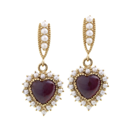 Be-my-Valentine Dangling Heart Earrings (Garnet)