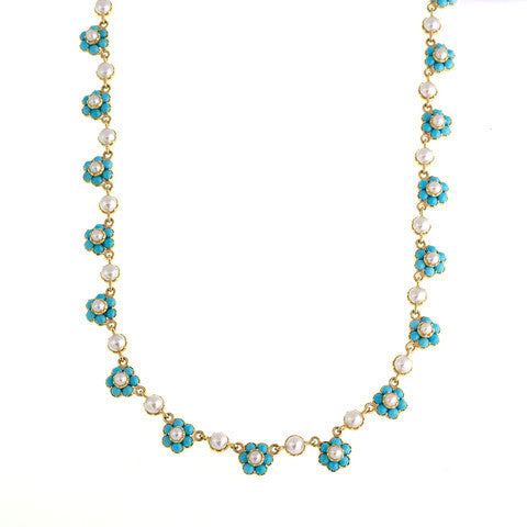 Turquoise and Pearl Forget-me-not Necklace