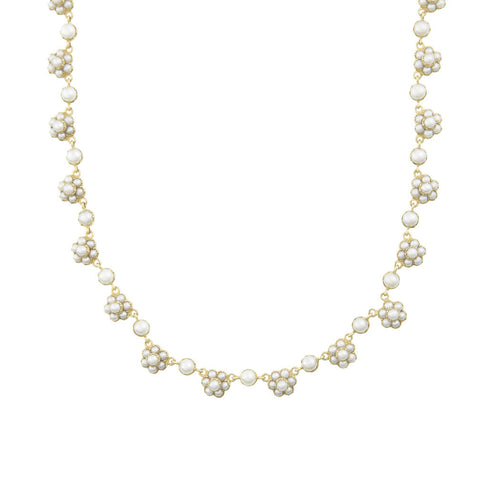 Dainty white floral necklace with fresh water button pearls
