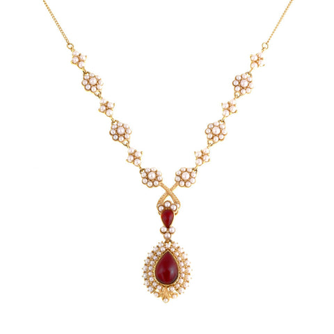 Seed Pearl Necklace with Cluster Dangling Pendant (Garnet)