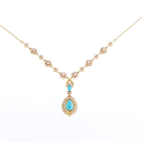 Seed Pearl Necklace with Cluster Dangling Pendant  (Turquoise )