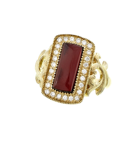 Rectangular Cabochon Gemstone and Diamond Ring (Garnet)