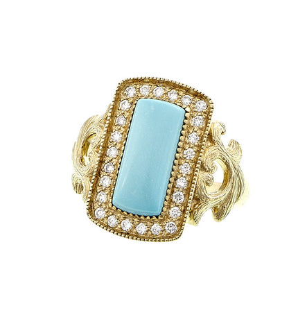Rectangular Cabochon Gemstone and Diamond Ring (Turquoise)