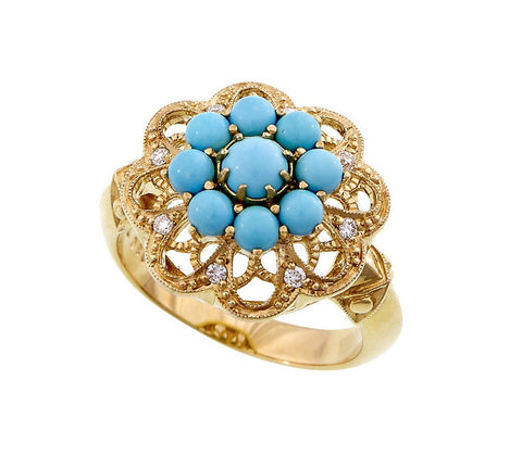 Turquoise and Diamond Filigree Openwork Ring