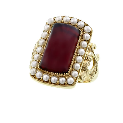 Rectangular Cabochon Garnet & single row Seed Pearl frame Ring