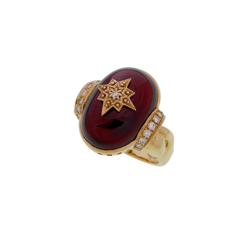 Garnet and Diamond Star Morif Ring