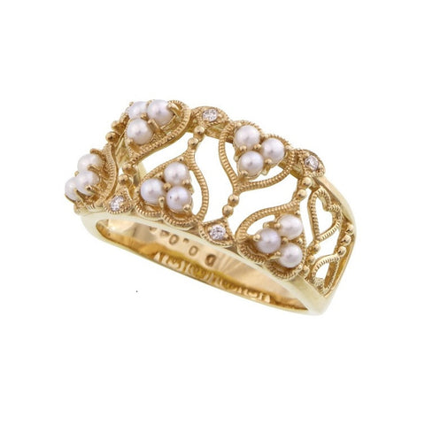 Seed Pearl and Diamond Open work heart band Ring