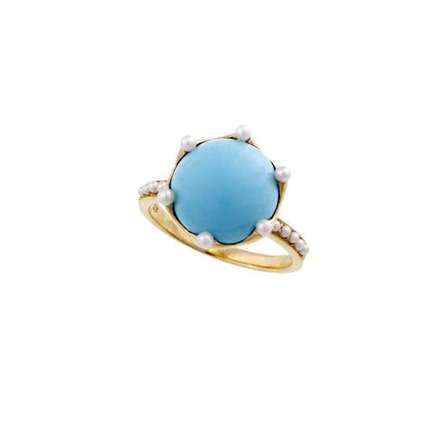 Round cabochon gem stone ring with Seed Pearl accents (Turquoise)