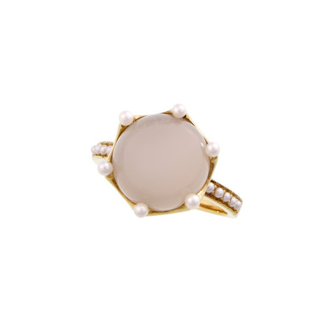 Round cabochon gem stone ring with Seed Pearl accents (Moon Stone)