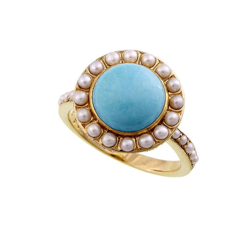 15.5mm round cabochon Turquoise ring with Seed Pearl & Diamond