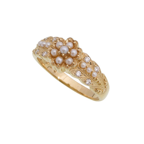 Seed Pearl and Diamond Flower Ring