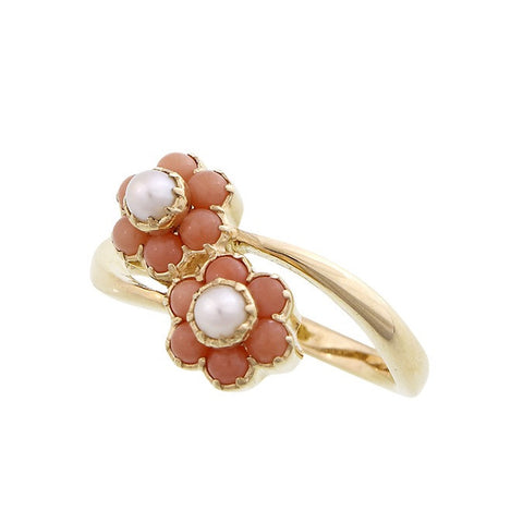 Dainty floral ring with fresh water button pearls (Pink Coral)