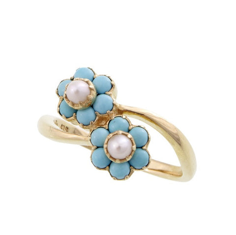 Dainty floral ring with fresh water button pearls (Turquoise)