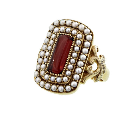 Rectangular cabochon Garnet & double rows Seed Pearl frame Ring