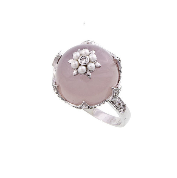 Rose Quartz, Seed Pearl and Diamond Ring
