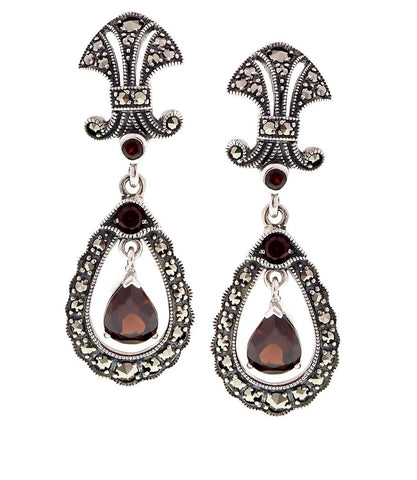 Antique inspired Drop Earrings with semi precious stones (Garnet)