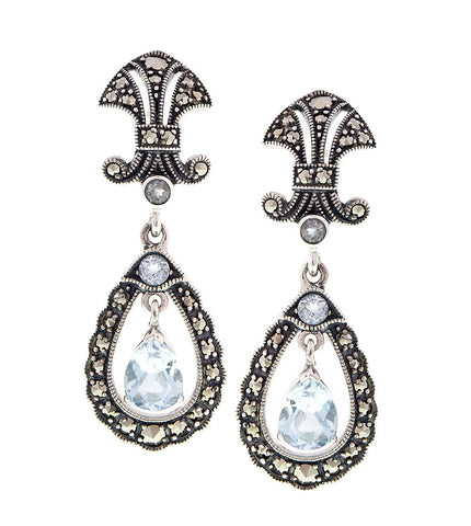 Antique inspired Drop Earrings with semi precious stones (Blue Topaz)