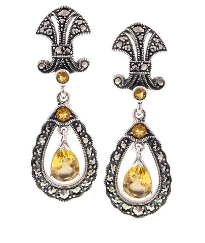Antique inspired Drop Earrings with semi precious stones (Citrine)