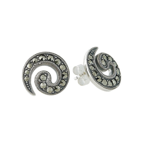 Marcasite Swirl Stud Earrings